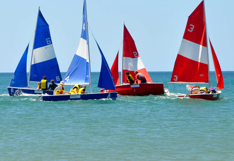 fleet of Pacers yachts sailing off Wynyard